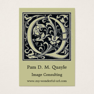 """Decorative Letter """"Q"""" Woodcut Woodblock Initial Business Card"""