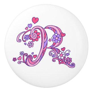 Decorative letter R monogram pink handle knob Ceramic Knob