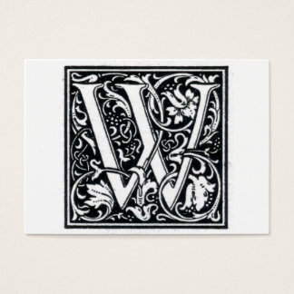 "Decorative Letter ""W"" Woodcut Woodblock Initial Business Card"