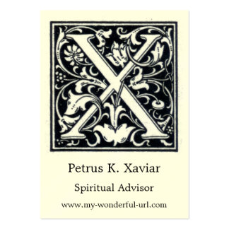"Decorative Letter ""X"" Woodcut Woodblock Initial Large Business Card"