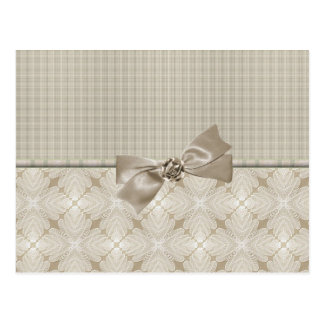 Decorative Linen with Bow Card Postcard