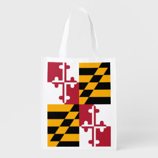Decorative Maryland State Flag Reusable Grocery Bag