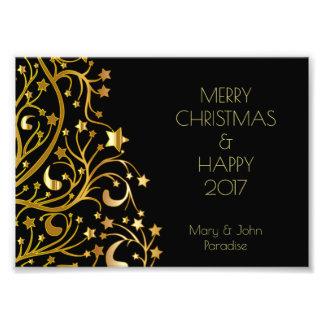 Decorative Merry Christmas Stars Black Gold Starry Photo Print