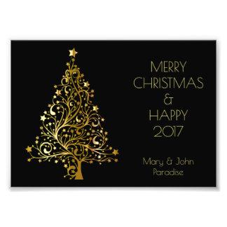 Decorative Merry Christmas Tree Stars Black Gold Photo Print
