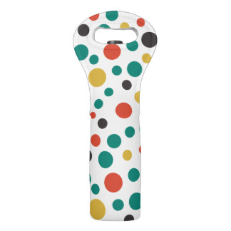 Decorative Modern Artsy Big Colored Polka Dots Wine Bag