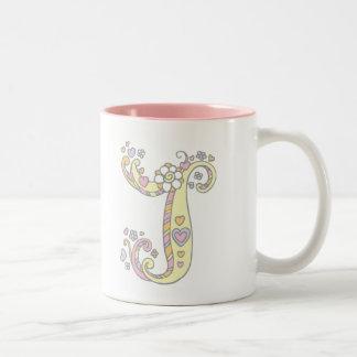 Decorative Monogram J hearts and flowers mug