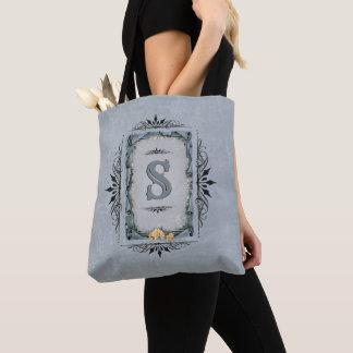 Decorative Monogram on Gray Tote Bag