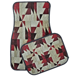 Decorative Multi-Color Quilted Set of 4 Car Mats