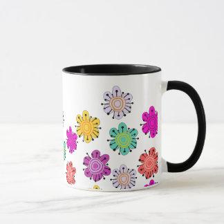 Decorative Multicolored Flowers Mug
