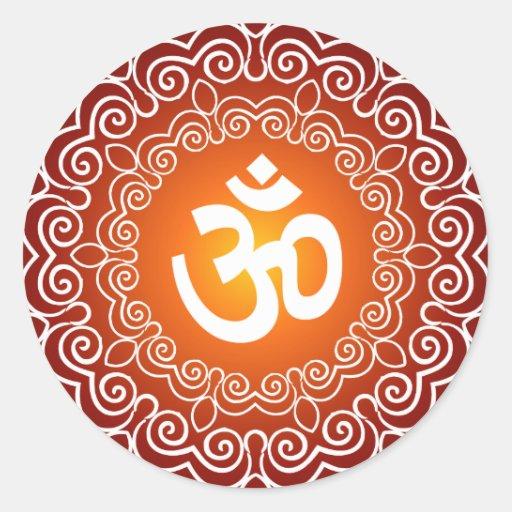 Decorative Om Design Round Sticker