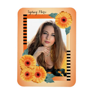 Decorative Orange and Floral - Add your Photo Rectangular Photo Magnet