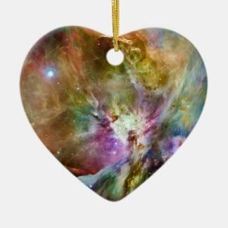 Decorative Orion Nebula Galaxy Space Photo Ceramic Heart Ornament