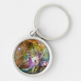 Decorative Orion Nebula Galaxy Space Photo Silver-Colored Round Keychain