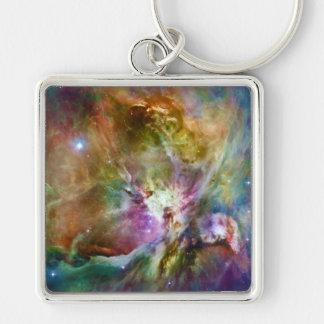 Decorative Orion Nebula Galaxy Space Photo Silver-Colored Square Keychain