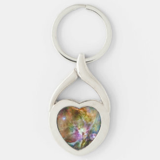 Decorative Orion Nebula Galaxy Space Photo Silver-Colored Twisted Heart Keychain