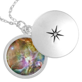Decorative Orion Nebula Galaxy Space Photo Silver Plated Necklace