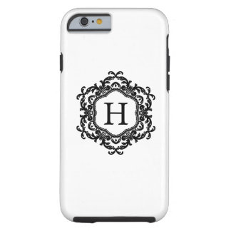 Decorative Ornamental Frame Black & White Monogram Tough iPhone 6 Case