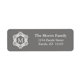 Decorative Ornamental Frame Gray white Monogram