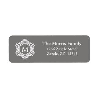Decorative Ornamental Frame Gray white Monogram Return Address Label