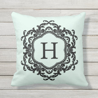 Decorative Ornamental Frame Mint Green Monogram Outdoor Pillow