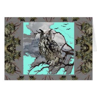 DECORATIVE OWL WILDERNESS GREY DESIGN CARD