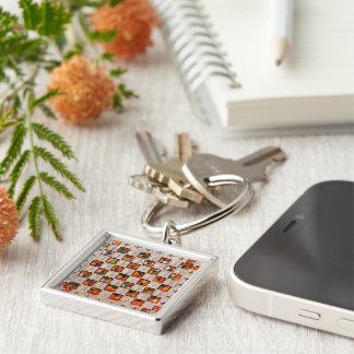 Decorative Patron Image Premium-Square-Key-chain Silver-Colored Square Keychain