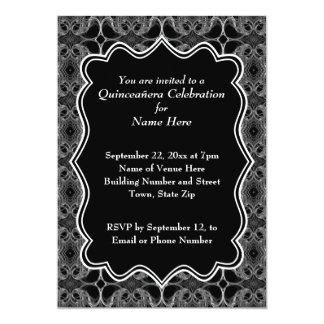 "Decorative Pattern Black and White Quinceanera 5"" X 7"" Invitation Card"