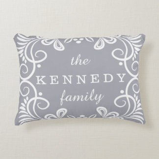 Decorative Pattern Gray And White Family Name Decorative Pillow