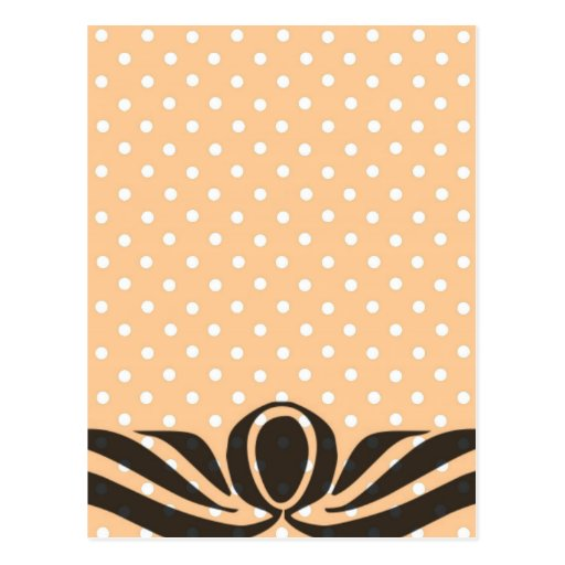 Decorative Peach Polka Dots Postcard