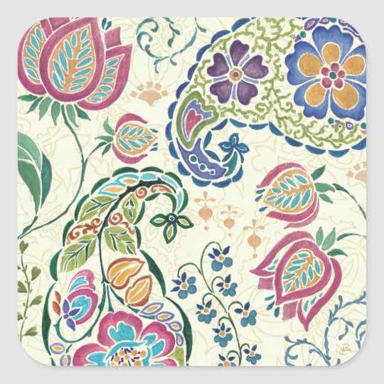 Decorative Peacock and Colourful Flowers Square Sticker