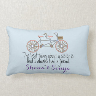 Decorative Pillow Sister Quote Tandem Bicycle