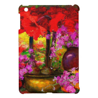 DECORATIVE PINK ORCHIDS & RED AMARYLLIS STILL LIFE iPad MINI CASE