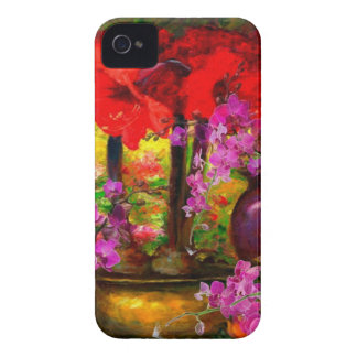 DECORATIVE PINK ORCHIDS & RED AMARYLLIS STILL LIFE iPhone 4 COVERS