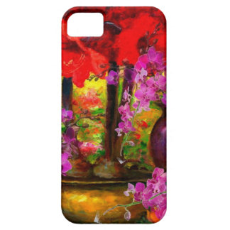 DECORATIVE PINK ORCHIDS & RED AMARYLLIS STILL LIFE iPhone 5 COVER