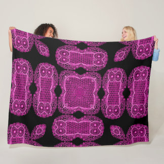 Decorative Pink Owl Sugar Skull Mandala Fleece Blanket