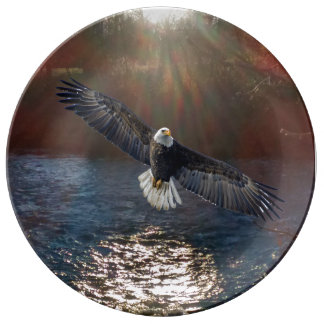 Decorative Plate with Eagle/River