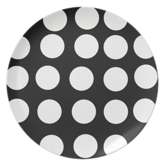 Decorative Plates Black and White Polka Dots