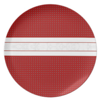 Decorative Poka Dot Red with White Marble Stripe Plate