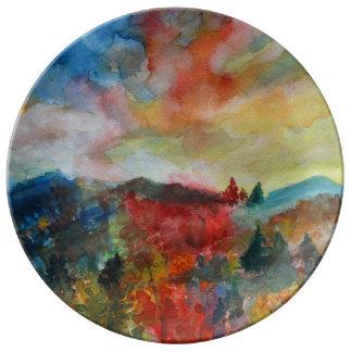 Decorative Porcelain Plate Autumn Day