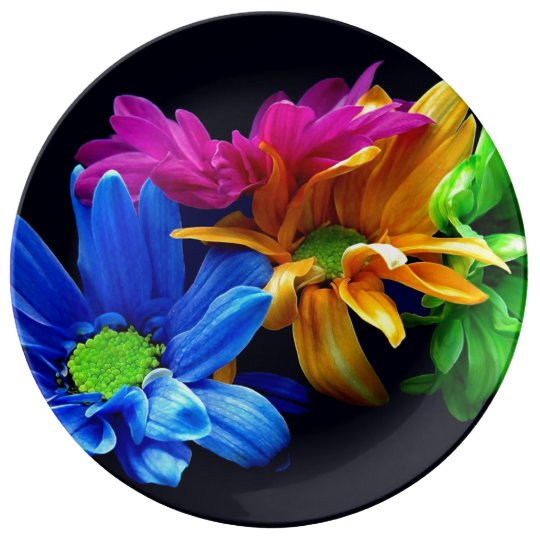 "Decorative Porcelain Plate ""Rainbow Floral"""