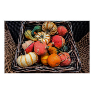 Decorative pumpkins in a wicker basket poster