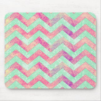 Decorative purple abstract mint green pink chevron mouse pad