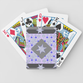 DECORATIVE PURPLE-GREY SNOW CRYSTALS  WINTER ART BICYCLE PLAYING CARDS