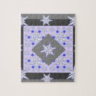 DECORATIVE PURPLE-GREY SNOW CRYSTALS  WINTER ART JIGSAW PUZZLE