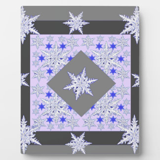 DECORATIVE PURPLE-GREY SNOW CRYSTALS  WINTER ART PLAQUE
