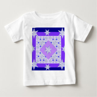 DECORATIVE PURPLE SNOW CRYSTALS  WINTER ART BABY T-Shirt