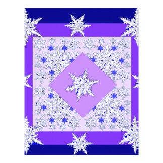DECORATIVE PURPLE SNOW CRYSTALS  WINTER ART LETTERHEAD