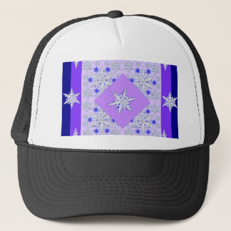 DECORATIVE PURPLE SNOW CRYSTALS  WINTER ART TRUCKER HAT