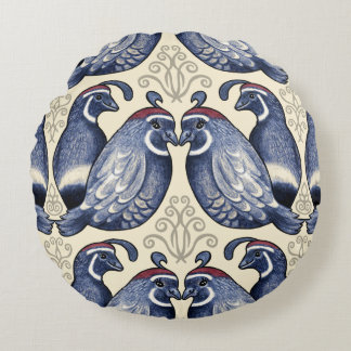 Decorative Quail Navy and Cream Round Pillow