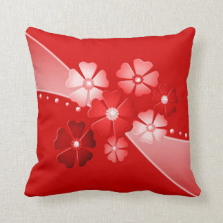 Decorative Red and White Flowers Throw Pillow